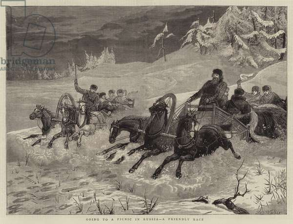Going to Picnic in Russia, a Friendly Race (engraving)