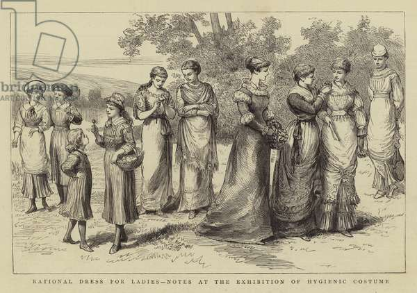 Rational Dress for Ladies, Notes at the Exhibition of Hygienic Costume (engraving)