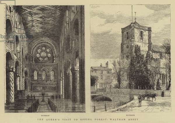 The Queen's Visit to Epping Forest, Waltham Abbey (engraving)