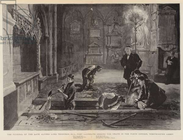 The Funeral of the Late Alfred Lord Tennyson, DCL, Poet Laureate, digging the Grave in the Poets' Corner, Westminster Abbey (engraving)