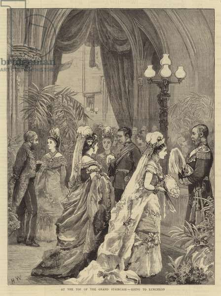 The Marriage of the Duke of Connaught, at the Top of the Grand Staircase, going to Luncheon (engraving)