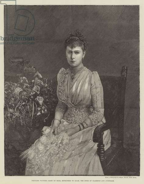 Princess Victoria Mary of Teck, betrothed to HRH the Duke of Clarence and Avondale (engraving)