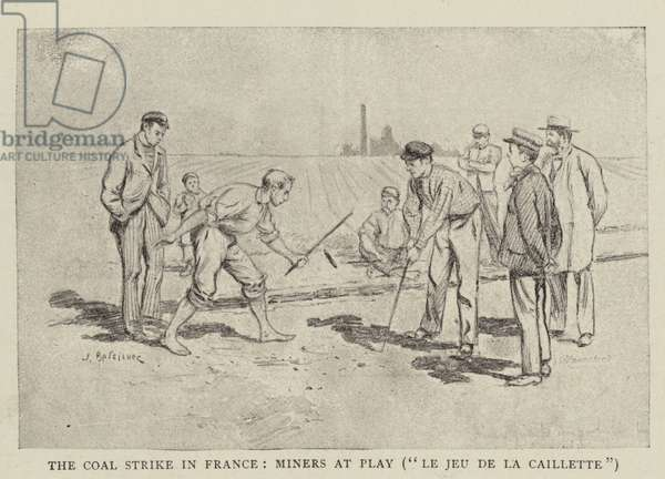 "The Coal Strike in France, Miners at Play, ""Le Jeu de la Caillette"" (engraving)"