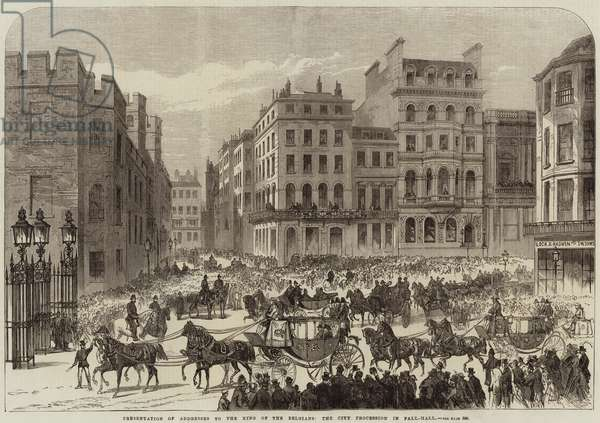 Presentation of Addresses to the King of the Belgians, the City Procession in Pall-Mall (engraving)