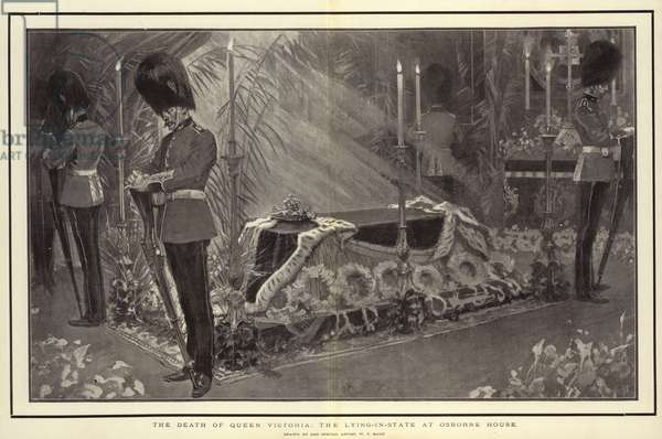 The Death of Queen Victoria, the Lying-in-State at Osborne House (litho)