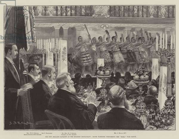 "The New Zealand Banquet at the Holborn Restaurant, Maori Warriors performing the ""Haka"" War-Dance (litho)"