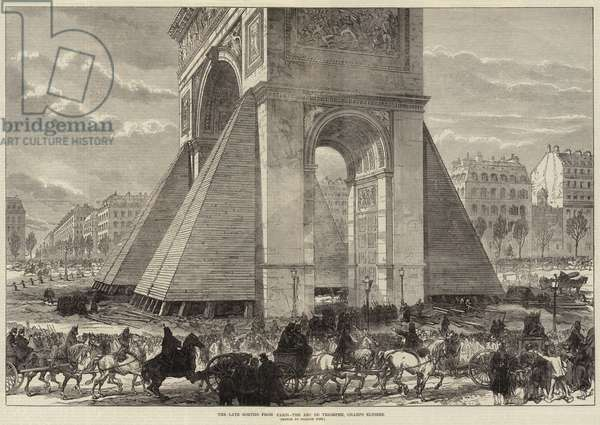 The Late Sorties from Paris, the Arc de Triomphe, Champs Elysees (engraving)