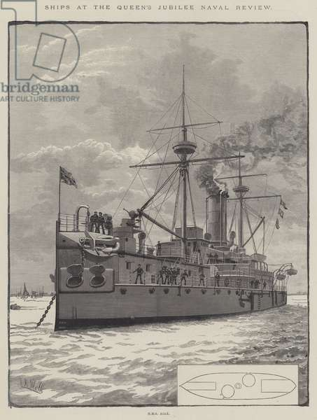 Ships at the Queen's Jubilee Naval Review (engraving)