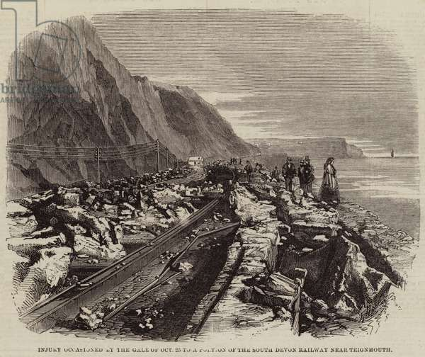 Injury occasioned by the Gale of 25 October to a Portion of the South Devon Railway near Teignmouth (engraving)