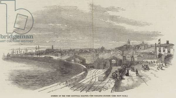 Opening of the West Cornwall Railway, the Penzance Station (engraving)