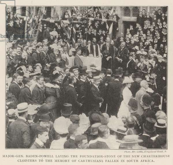 Major-General Baden-Powell laying the Foundation-Stone of the New Charterhouse Cloisters to the Memory of Carthusians fallen in South Africa (b/w photo)