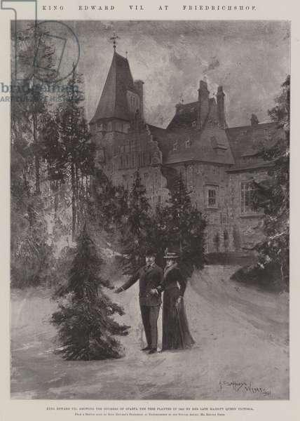King Edward VII at Friedrichshof (litho)