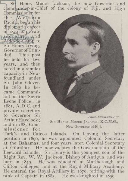 Sir Henry Moore Jackson, KCMG, New Governor of Fiji (b/w photo)