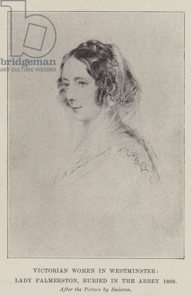 Victorian Women in Westminster, Lady Palmerston, buried in the Abbey 1869 (litho)