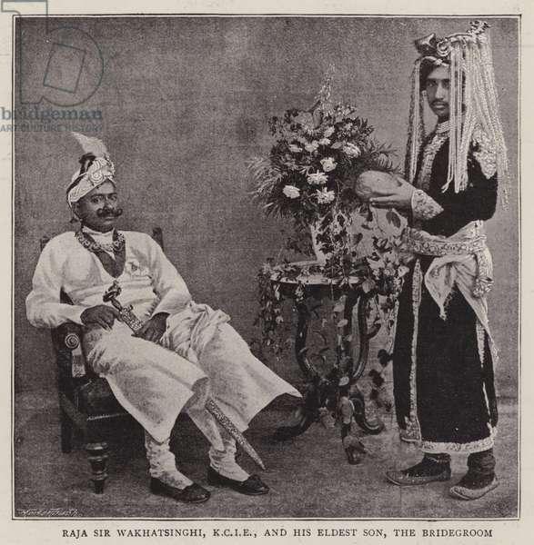 Raja Sir Wakhatsinghi, KCIE, and his Eldest Son, the Bridegroom (b/w photo)