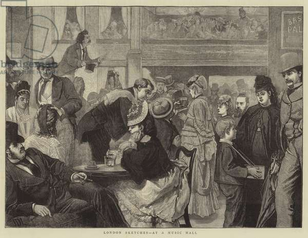 London Sketches, at a Music Hall (engraving)