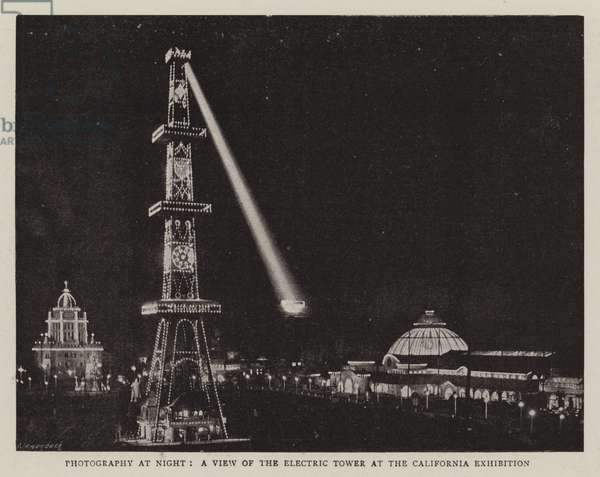 Photography at Night, a View of the Electric Tower at the California Exhibition (b/w photo)
