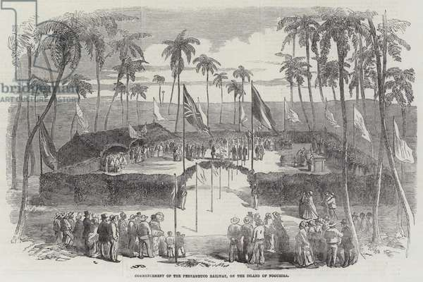 Commencement of the Pernambuco Railway, on the Island of Nogueira (engraving)