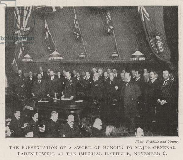 The Presentation of a Sword of Honour to Major-General Baden-Powell at the Imperial Institute, 6 November (engraving)