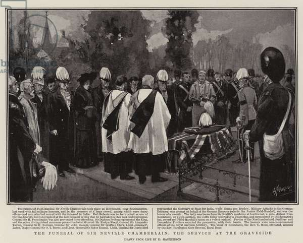 The Funeral of Sir Neville Chamberlain, the Service at the Graveside (litho)