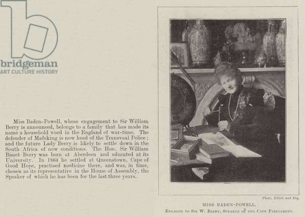 Miss Baden-Powell, engaged to Sir W Berry, Speaker of the Cape Parliament (b/w photo)