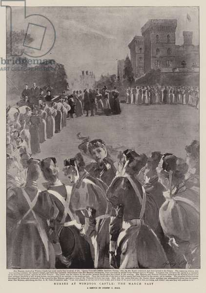 Nurses at Windsor Castle, the March Past (litho)