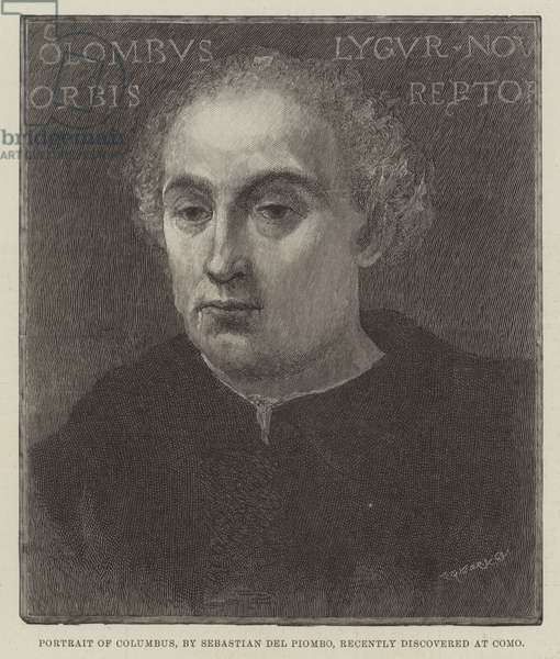 Portrait of Columbus, recently discovered at Como (engraving)