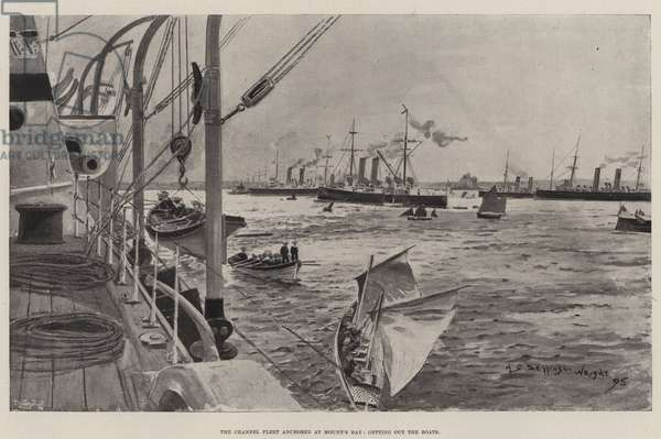 The Channel Fleet anchored at Mount's Bay, getting out the Boats (litho)