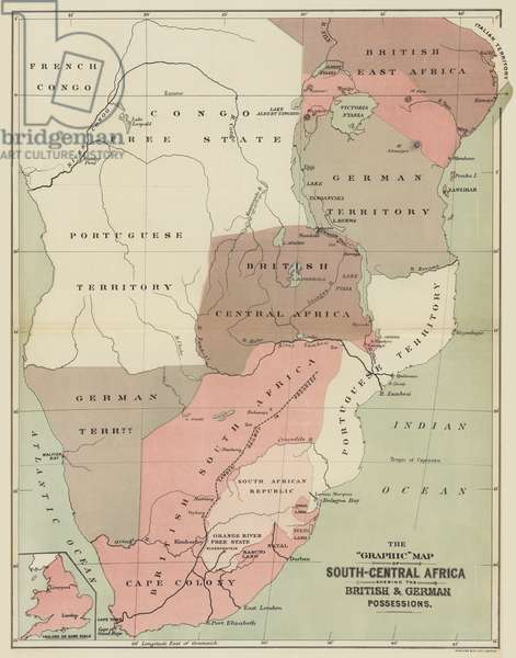 The Graphic Map of South-Central Africa shewing the British and German Possessions (colour litho)