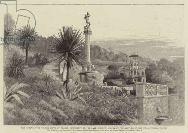 The Queen's Visit to the South of France, Monument to the Late Duke of Albany in the Grounds of the Villa Nevada, Cannes (engraving)