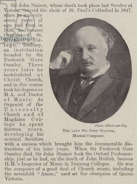 The late Sir John Stainer, Musical Composer (b/w photo)
