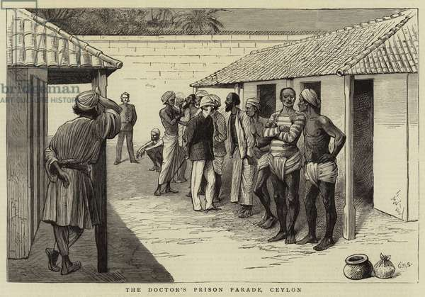 The Doctor's Prison Parade, Ceylon (engraving)