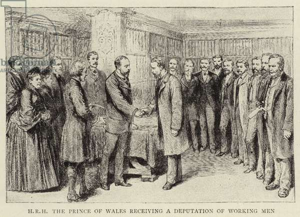 H R H The Prince of Wales receiving a Deputation of Working Men (engraving)