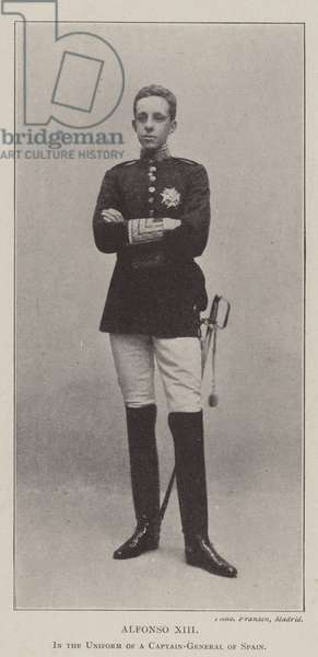 Alfonso XIII, in the Uniform of a Captain-General of Spain (b/w photo)