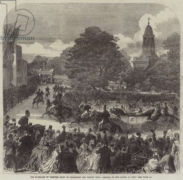 The Marriage of Princess Mary of Cambridge and Prince Teck, Arrival of the Queen at Kew (engraving)