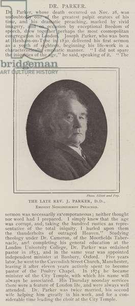 The late Reverend J Parker, DD, Eminent Nonconformist Preacher (engraving)