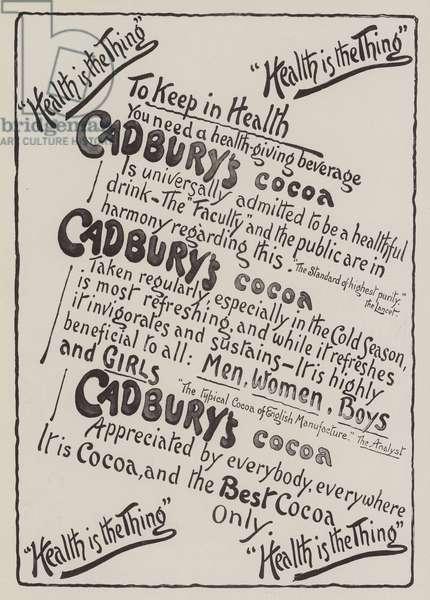 Advertisement, Cadbury's Cocoa (engraving)