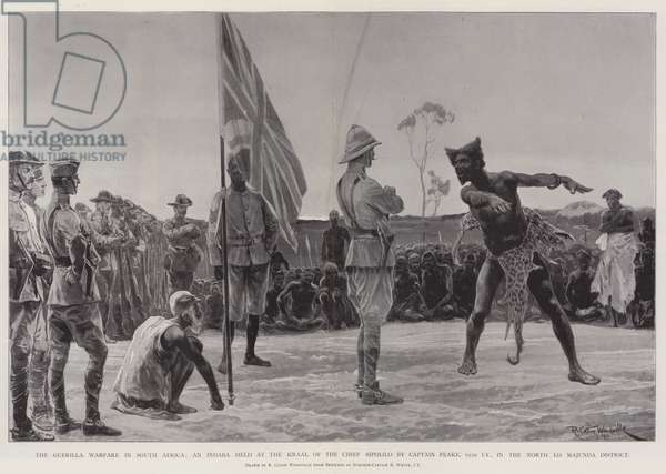 The Guerilla Warfare in South Africa, an Indaba held at the Kraal of the Chief Sipolilo by Captain Peake, 65th Imperial Yeomanry, in the North Lo Majunda District (litho)