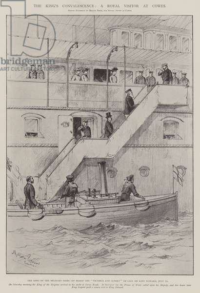 The King's Convalescence, a Royal Visitor at Cowes (litho)