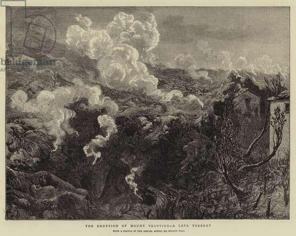 The Eruption of Mount Vesuvius, a Lava Torrent (engraving)