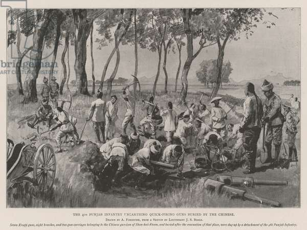 The 4th Punjab Infantry unearthing Quick-Firing Guns buried by the Chinese (litho)