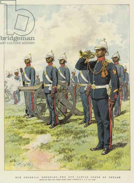 Our Colonial Defences, the Gun Lascar Corps of Ceylon (chromolitho)