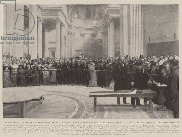 The Demonstration of the Earth's Rotation by Foucault's Pendulum at the Pantheon, the Minister of Public Instruction starting the Pendulum (litho)