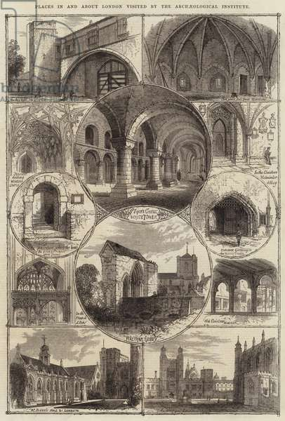 Places in and about London visited by the Archaeological Institute (engraving)
