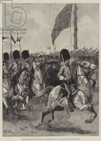 The Queen reviewing the Troops at Aldershot on 13 July, the Scots Greys galloping past (engraving)