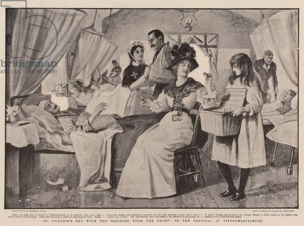 St Patrick's Day with the Wounded from the Front, in the Hospital at Pietermaritzburg (litho)