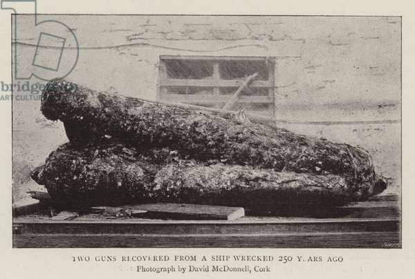 Two Guns recovered from a Ship Wrecked 250 years ago (b/w photo)