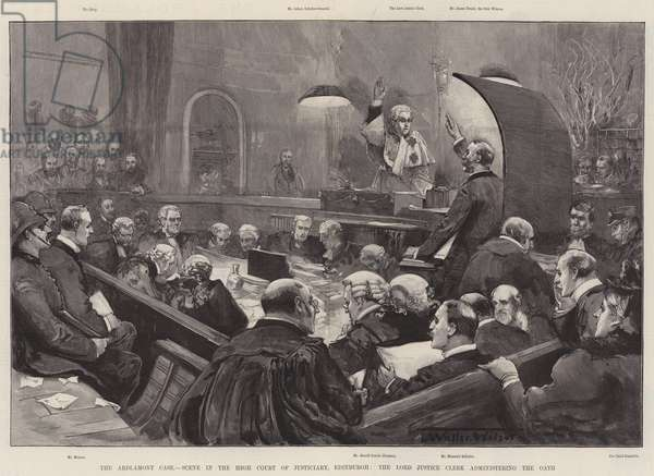The Ardlamont Case, Scene in the High Court of Justiciary, Edinburgh, the Lord Justice Clerk administering the Oath (engraving)
