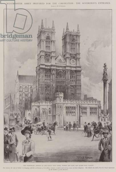 Westminster Abbey prepared for the Coronation, the Sovereign's Entrance (engraving)