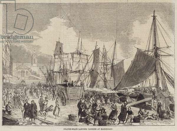 Orange-Boats landing Cargoes at Marseilles (engraving)